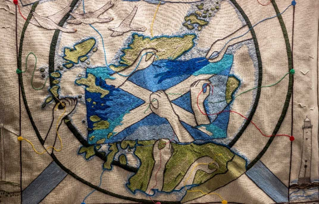 Tapestry of Scotland which contained over 300 miles of Appletons crewel wool and has gone on display in Galashiels.